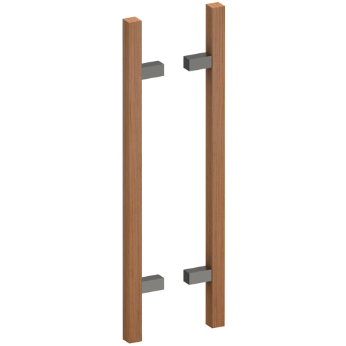 G4211-25 Raw Timber Entrance Pull Handle, American White Oak, Back to Back Pair, CTC600mm, H800mm x 25mm x 25mm x Projection 70mm