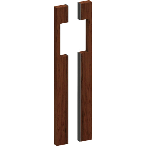 G4285 Raw Timber Entrance Pull Handle, American Black Walnut, with Stainless Steel Base, Back to Back Pair, H200mm x W20mm x D43mm