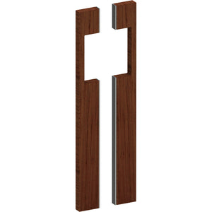 G4287 Raw Timber Entrance Pull Handle, American Black Walnut, with Stainless Steel Base,s, Back to Back Pair, H600mm x W20mm x D50mm in American Black Walnut / Satin Stainless Steel