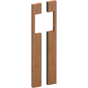 G4287 Raw Timber Entrance Pull Handle, American White Oak with Stainless Steel Base,s, Back to Back Pair, H500mm x W20mm x D50mm in American White Oak / Satin Brass