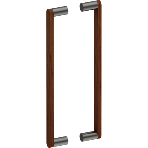 G4608-25 Raw Timber Entrance Pull Handle, American Black Walnut, Back to Back Pair, CTC400mm, H425mm x W25mm x D12mm x Projection 57mm