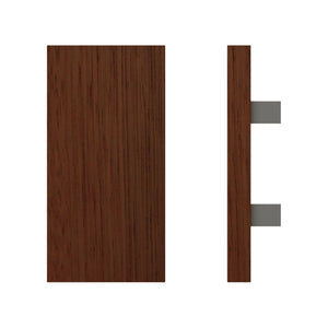 G4730 Raw Timber Entrance Pull Handle, American Black Walnut, 300mm x 150mm x Projection 68mm in American Black Walnut / Satin Chrome
