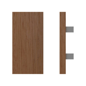 G4730 Raw Timber Entrance Pull Handle, American White Oak, 300mm x 150mm x Projection 68mm in American White Oak / Satin Chrome