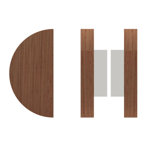 G4830 Raw Timber Entrance Pull Handle, American Black Walnut, Back to Back Pair, Ø200mm in American Black Walnut / Polished Chrome