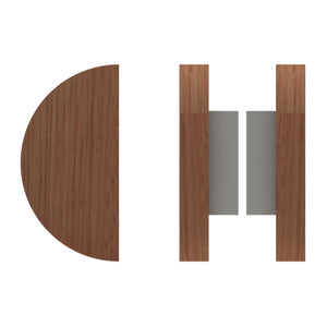 G4830 Raw Timber Entrance Pull Handle, American Black Walnut, Back to Back Pair, Ø200mm in American Black Walnut / Satin Chrome