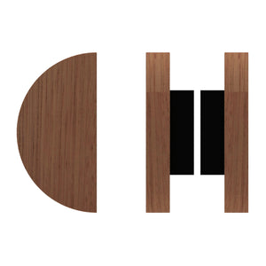 G4830 Raw Timber Entrance Pull Handle, American Black Walnut, Back to Back Pair, Ø300mm in American Black Walnut / Black