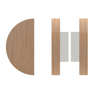 G4830 Raw Timber Entrance Pull Handle, American White Oak, Back to Back Pair, Ø150mm in American White Oak / Polished Chrome