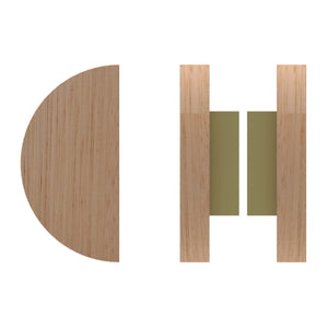 G4830 Raw Timber Entrance Pull Handle, American White Oak, Back to Back Pair, Ø150mm in American White Oak / Satin Brass