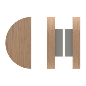 G4830 Raw Timber Entrance Pull Handle, American White Oak, Back to Back Pair, Ø150mm in American White Oak / Satin Chrome