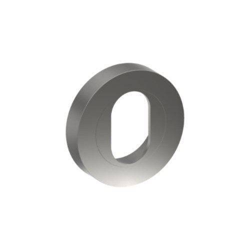 Cylinder Escutcheon, Round, Oval Punch, Stainless Steel, Ø52mm Two part 'A' type concealed fix. (Each)