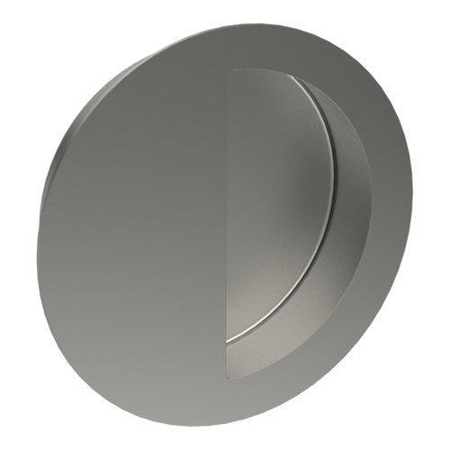 Round, Sliding Door, Flush Pull Handle (Single). Moon shaped Finger Hole. Solid Stainless Steel. 90mm Ø Invisible Fix (no screw holes)