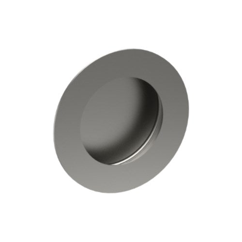 Round, Sliding Door, Flush Pull Handle (Single). Solid Stainless Steel. 65mm dia (face) 54mm dia (rear). Invisible Fix (no screw holes)
