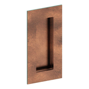 Rectangular, Sliding Door, Flush Pull Handle (Single). Solid Stainless Steel. Rectangular Finger Hole. 100mm x 50mm. Invisible Fix (no screw holes) in Antique Bronze