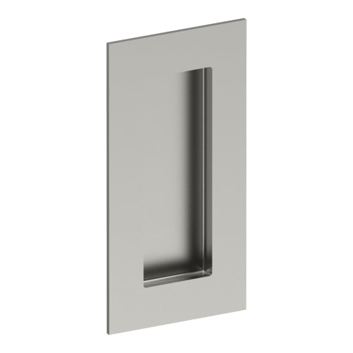 Rectangular, Sliding Door, Flush Pull Handle (Single). Solid Stainless Steel. Rectangular Finger Hole. 100mm x 50mm. Invisible Fix (no screw holes)