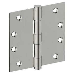 Hinge 100mm x 100mm x 2.5mm, Stainless Steel, Button Tipped, Fixed Pin (w/timber and metal thread Screws) in Polished Stainless Steel
