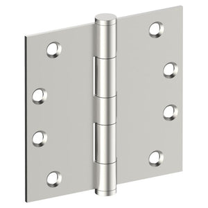 Hinge 100mm x 100mm x 2.5mm, Stainless Steel, Button Tipped, Fixed Pin (w/timber and metal thread Screws) in Satin Stainless Steel