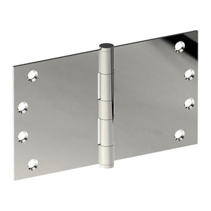 Hinge 100mm x 175mm x 3.5mm, Stainless Steel, Button Tipped, Fixed Pin (w/timber and metal thread Screws) in Polished Stainless Steel