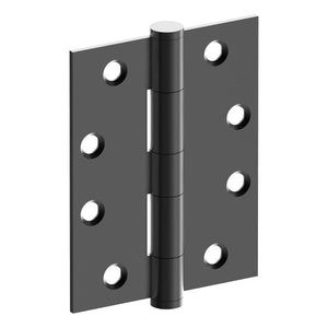 Hinge 100mm x 75mm x 2.5mm, Stainless Steel, Button Tipped, Fixed Pin (w/timber and metal thread Screws) in Satin Black Chrome