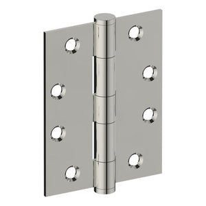Hinge 100mm x 75mm x 2.5mm, Stainless Steel, Button Tipped, Fixed Pin (w/timber and metal thread Screws) in Polished Stainless Steel