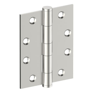 Hinge 100mm x 75mm x 2.5mm, Stainless Steel, Button Tipped, Fixed Pin (w/timber and metal thread Screws) in Satin Stainless Steel