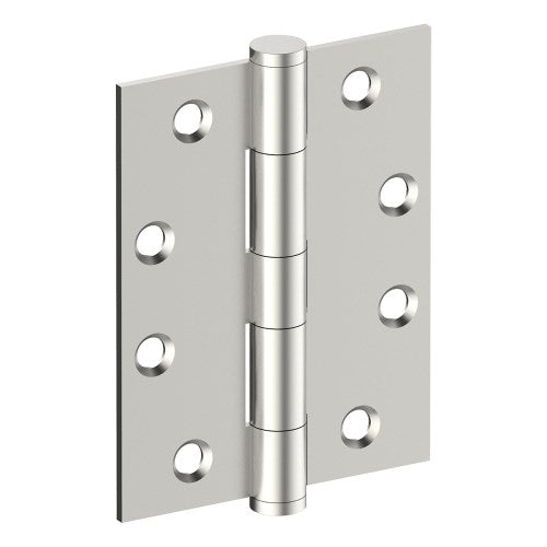 Hinge 100mm x 75mm x 2.5mm, Stainless Steel, Button Tipped, Fixed Pin (w/timber and metal thread Screws)
