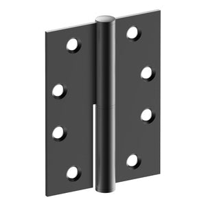 Lift Off Hinge, LEFT HAND, 100mm x 75mm x 2.5mm, Stainless Steel, Button Tipped (w/timber and metal thread Screws) in Black