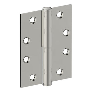 Lift Off Hinge, LEFT HAND, 100mm x 75mm x 2.5mm, Stainless Steel, Button Tipped (w/timber and metal thread Screws) in Polished Stainless Steel