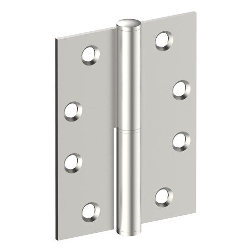 Lift Off Hinge, LEFT HAND, 100mm x 75mm x 2.5mm, Stainless Steel, Button Tipped (w/timber and metal thread Screws)