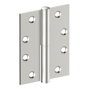 Lift Off Hinge, LEFT HAND, 100mm x 75mm x 2.5mm, Stainless Steel, Button Tipped (w/timber and metal thread Screws) in Satin Stainless Steel