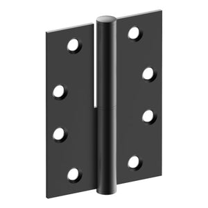 Lift Off Hinge, RIGHT HAND, 100mm x 75mm x 2.5mm, Stainless Steel, Button Tipped (w/timber and metal thread Screws) in Satin Black Chrome
