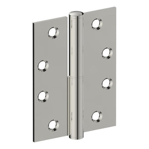 Lift Off Hinge, RIGHT HAND, 100mm x 75mm x 2.5mm, Stainless Steel, Button Tipped (w/timber and metal thread Screws) in Polished Stainless Steel