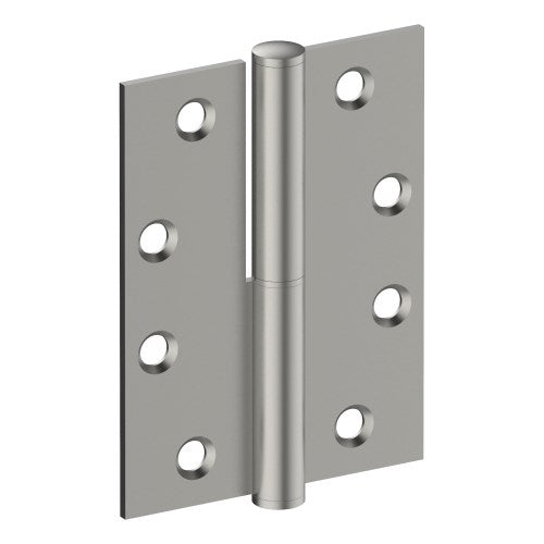 Lift Off Hinge, RIGHT HAND, 100mm x 75mm x 2.5mm, Stainless Steel, Button Tipped (w/timber and metal thread Screws)