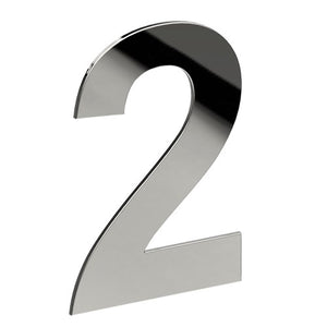 Stainless Steel Number '2' 130mm x 90mm in Polished Stainless Steel