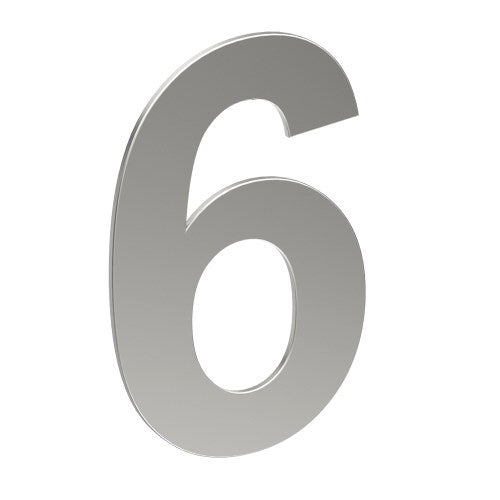 Stainless Steel Number '6' 130mm x 90mm