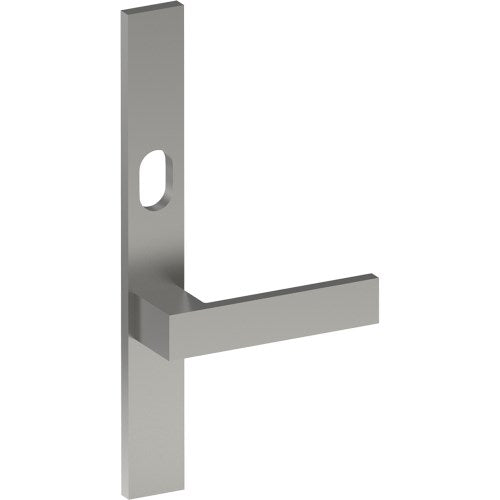 BAR Door Handle on B02 EXTERNAL Lockwood Style Backplate with Cylinder Hole, Concealed Fixing (Half Set)
