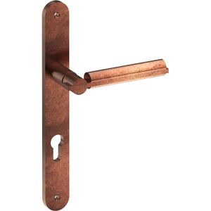BRONN Door Handle on B01 INTERNAL Euro Style Backplate with Cylinder Hole, Visible Fixing (Half Set) in Antique Bronze