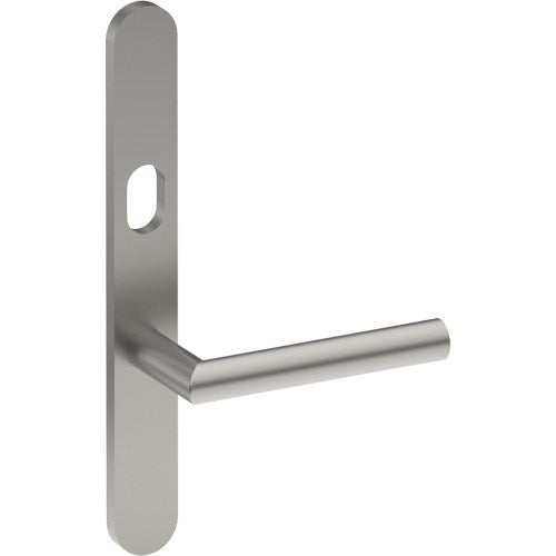 CETINA Door Handle on B01 EXTERNAL Lockwood Style Backplate with Cylinder Hole, Concealed Fixing (Half Set)