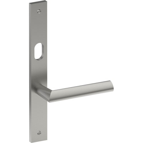 COMO Door Handle on B02 INTERNAL Lockwood Style Backplate with Cylinder Hole, Visible Fixing (Half Set)
