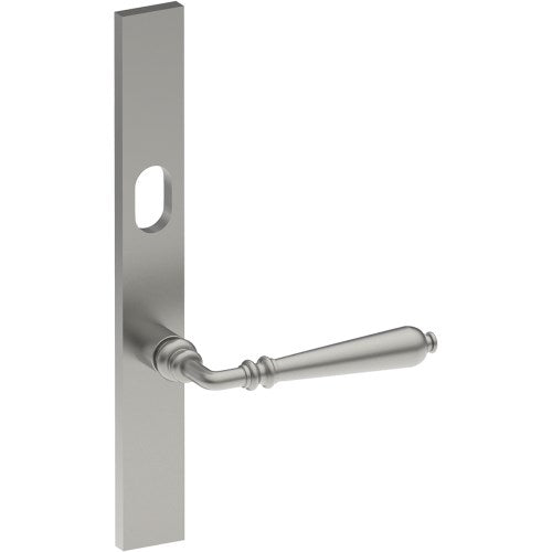 ELEGANTE Door Handle on B02 EXTERNAL Lockwood Style Backplate with Cylinder Hole, Concealed Fixing (Half Set)