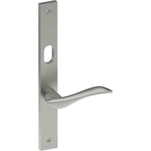 FERRARA Door Handle on B02 INTERNAL Lockwood Style Backplate with Cylinder Hole, Visible Fixing (Half Set)