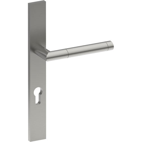 METZ Door Handle on B02 EXTERNAL Euro Style Backplate with Cylinder Hole, Concealed Fixing (Half Set)