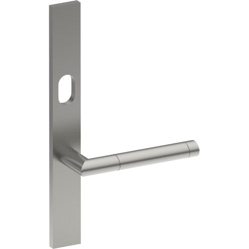 METZ Door Handle on B02 EXTERNAL Lockwood Style Backplate with Cylinder Hole, Concealed Fixing (Half Set)