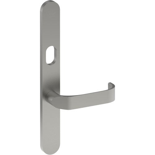 MOSS Door Handle on B01 EXTERNAL Lockwood Style Backplate with Cylinder Hole, Concealed Fixing (Half Set)