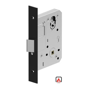 Mortice Lock Case, 60mm Backset with Anti-lockout (kick-off) as standard, Fire Rated in Satin Black Chrome