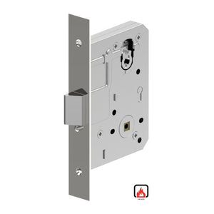 Mortice Lock Case, 60mm Backset with Anti-lockout (kick-off) as standard, Fire Rated in Polished Stainless Steel