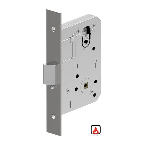 Mortice Lock Case, 60mm Backset with Anti-lockout (kick-off) as standard, Fire Rated