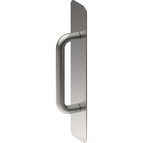 Pull Handle on Backplate, Concealed Fix  (300mm x 75mm x 2mm). Pull Handle (150 x 16mm)