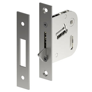 Sliding Door Privacy Latch. 46mm backset. 4.5mm Spindle in Satin Stainless Steel