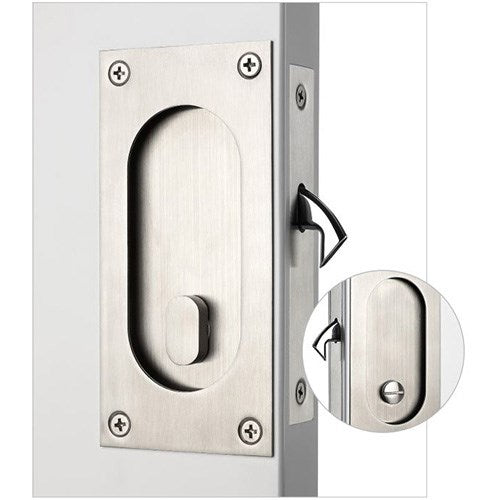 Madinoz CSL29 Sliding Door Privacy Lock Complete with Flush Pulls 65mm x 140mm, Privacy Turn and Emergency Release