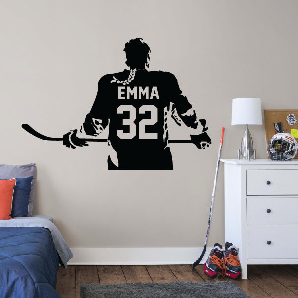 Hockey Girl Player Wall Decor Sticker